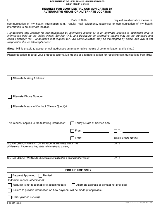 Form IHS-963 Fillable Pdf