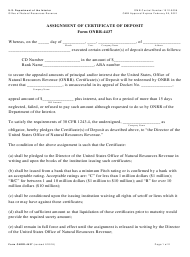 Form ONRR-4437 Assignment of Certificate of Deposit
