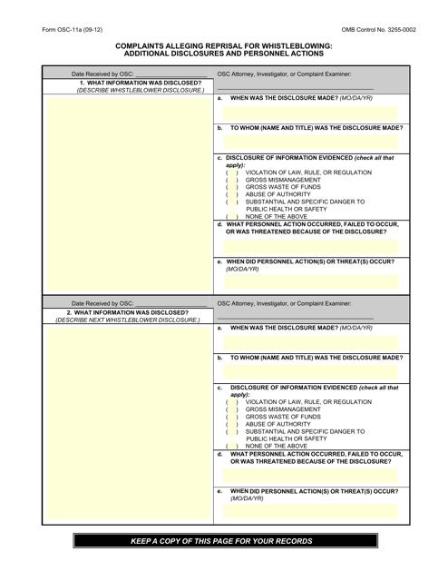 Form OSC-11a  Fillable Pdf