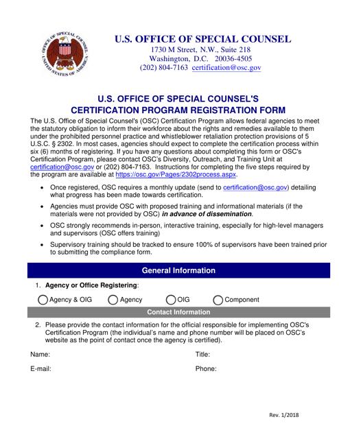 U.S. Office of Special Counsel's Certification Program Registration Form Download Pdf