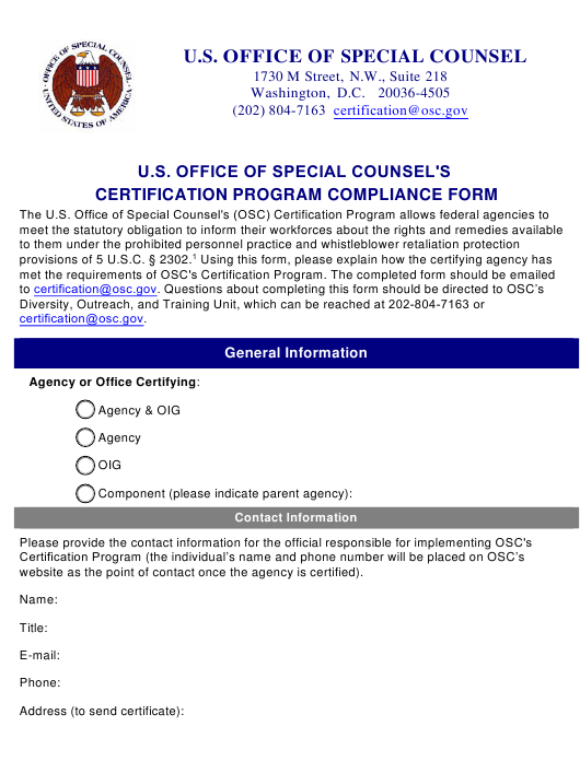 U.S. Office of Special Counsel's Certification Program Compliance Form Download Pdf