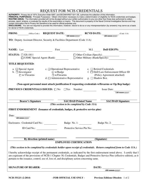 Form NCIS5512/1 Printable Pdf