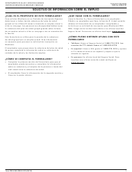 """Formulario CMS-L564 """"Solicitud De Informacion Sobre El Empleo"""" (Spanish)"""