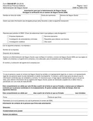 """Formulario SSA-89-sp """"Autorizacion Para Que La Administracion De Seguro Social Divulgue La Verificacion De Un Numero De Seguro Social (Ssn)"""" (Spanish)"""