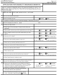 "Form SSA-16 ""Application for Disability Insurance Benefits"""