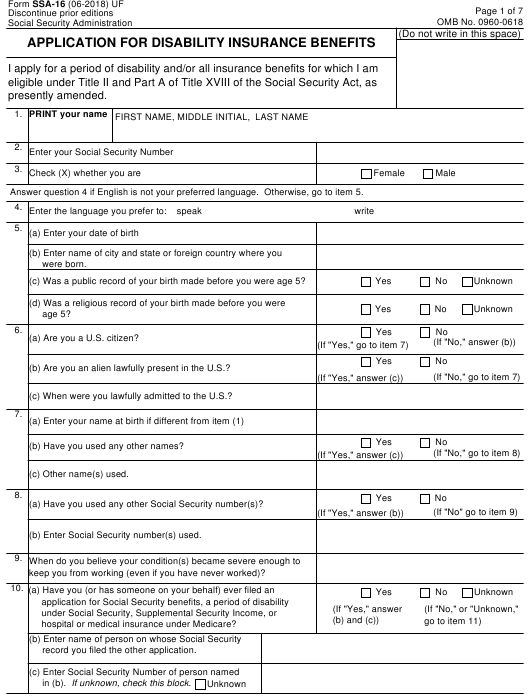 Form SSA-16 Download Fillable PDF or Fill Online Application ... on canadian passport renewal application form, social security income tax form, social security benefit application,