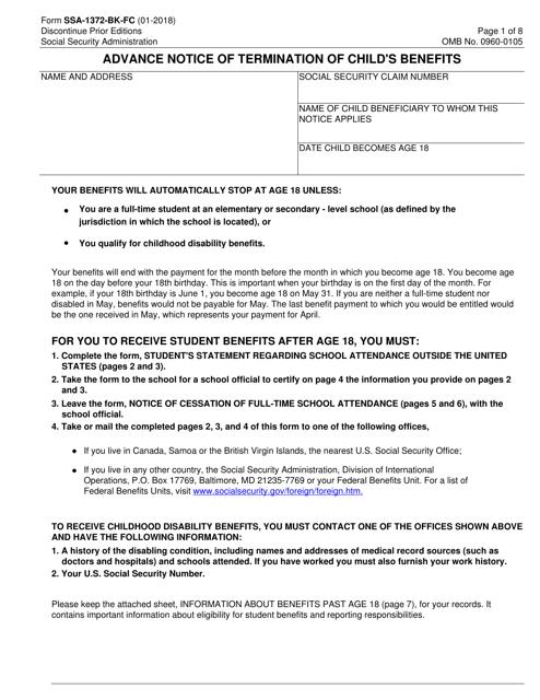 Form SSA-1372-BK-FC  Printable Pdf