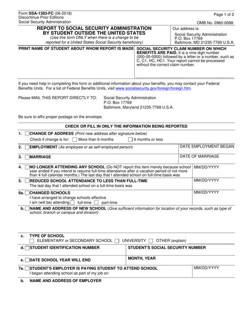 Form SSA-1383-FC Fillable Pdf