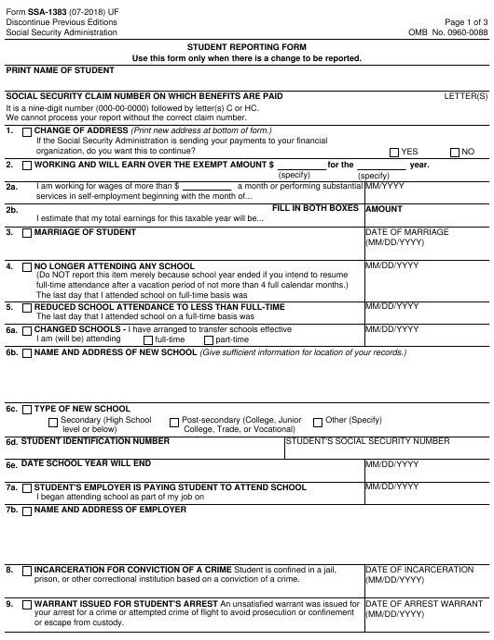Form SSA-1383  Printable Pdf