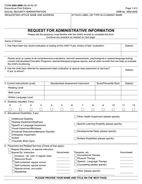 Form SSA-5666 Fillable Pdf