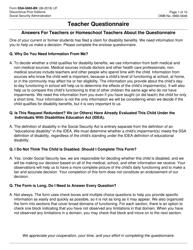 Form SSA-5665-bk Teacher Questionnaire