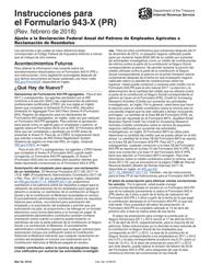 Instrucciones Para El IRS Formulario 943-x (Pr) - Ajuste a La Declaracion Federal Anual Del Patrono De Empleados Agricolas O Reclamacion De Reembolso