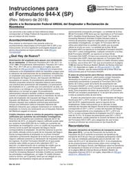 """Instrucciones para IRS Formulario 944-X (SP) """"Ajuste a La Declaracion Federal Anual Del Empleador O Reclamacion De Reembolso"""" (Spanish)"""