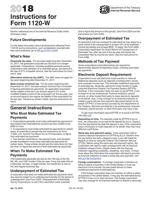 IRS Form 1120-W 2018 Printable Pdf