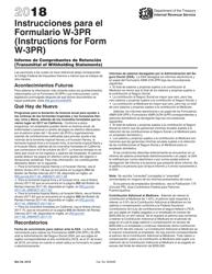 """Instrucciones para IRS Formulario W-3PR """"Informe De Comprobantes De Retencion"""" (Puerto Rican Spanish), 2018"""