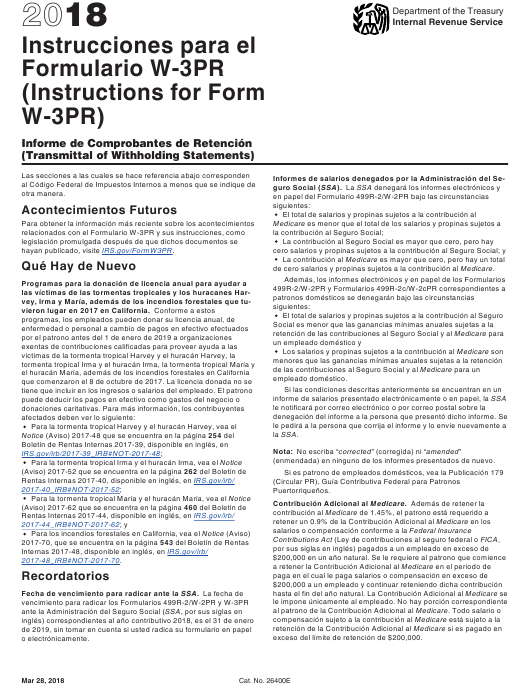 IRS Form W-3PR 2018 Printable Pdf