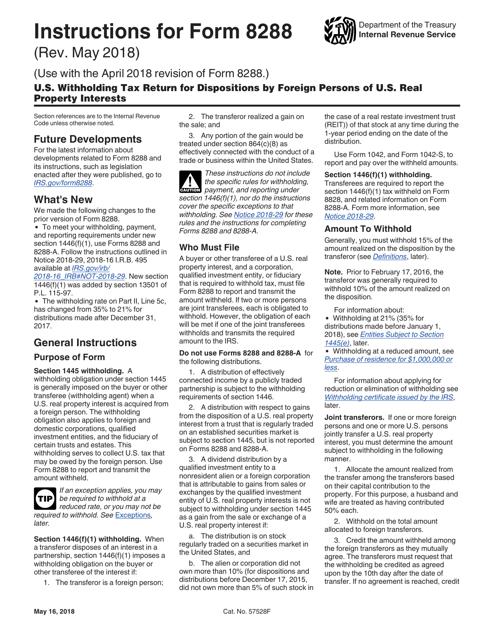 IRS Form 8288  Printable Pdf