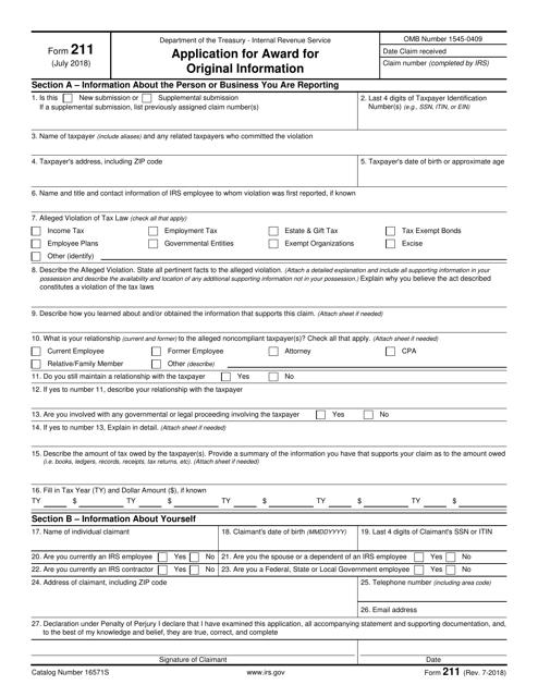 IRS Form 211  Printable Pdf
