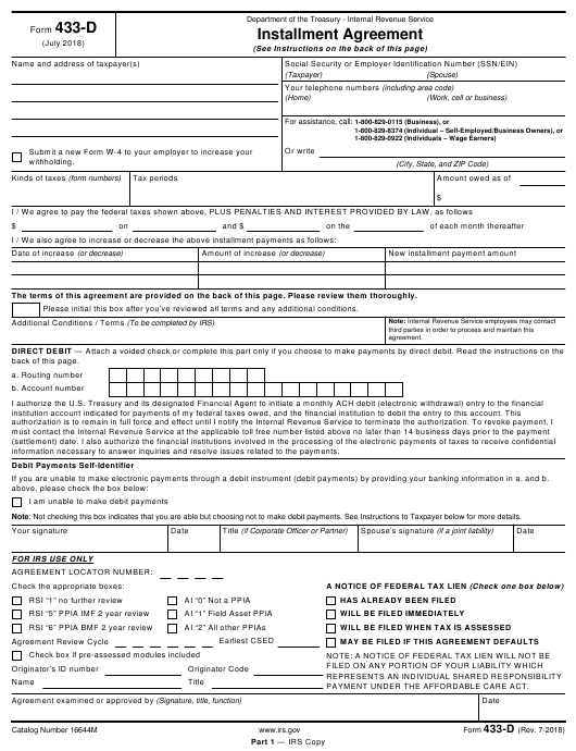 Irs Form 433 D Download Fillable Pdf Installment Agreement