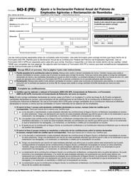 IRS Form 943-X (PR) Ajuste a La Declaracion Federal Anual Del Patrono De Empleados Agricolas O Reclamacion De Reembolso