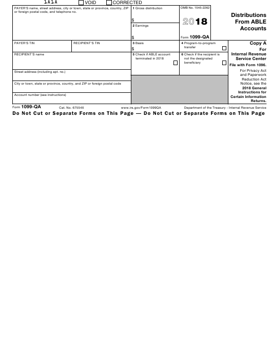 Irs Form 1099 Qa Download Fillable Pdf 2018 Distributions From Able