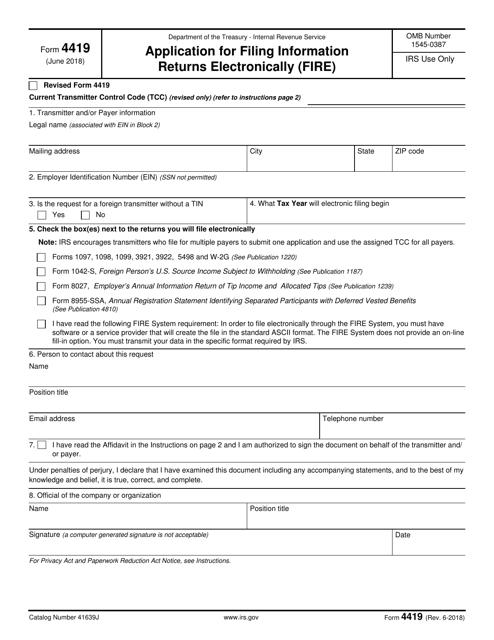 IRS Form 4419  Printable Pdf