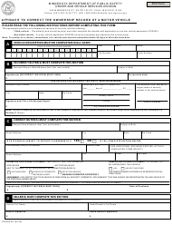 "Form PS2025-B1 ""Affidavit to Correct the Ownership Record of a Motor Vehicle"" - Minnesota"