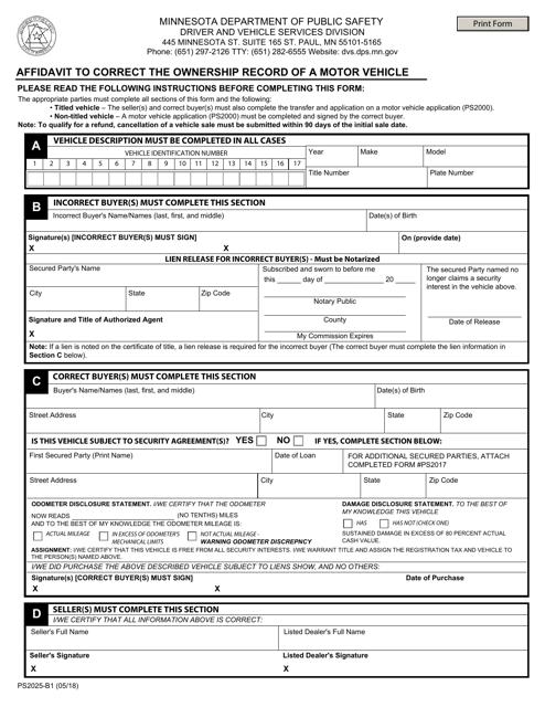 Form PS2025-B1  Printable Pdf