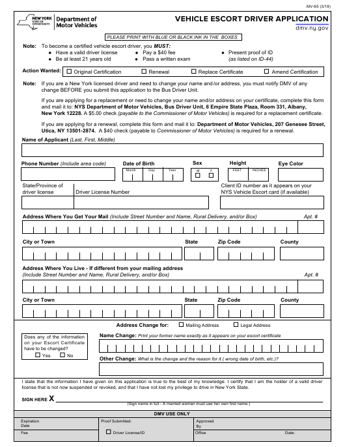 Form MV-65 Fillable Pdf