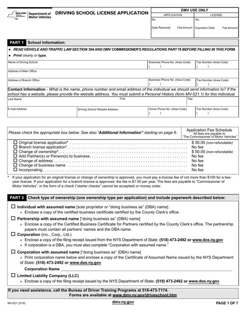 Form MV-521  Printable Pdf