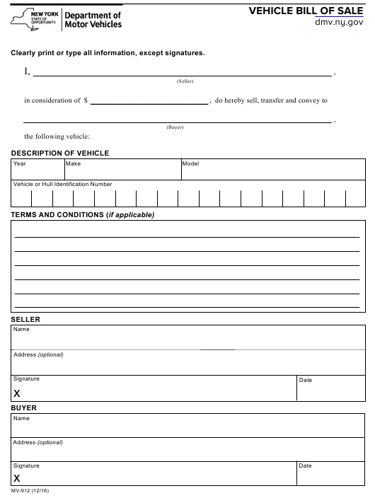 Form MV-912  Printable Pdf