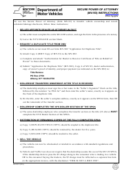 Instructions for Form Mv-93 - Secure Power of Attorney