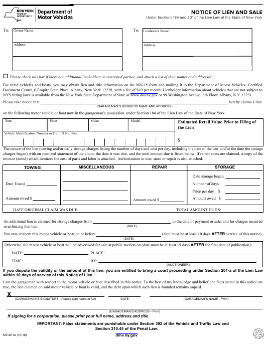 Form MV-901A  Printable Pdf
