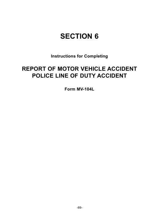 Instructions for Form Mv-104l - Report of Motor Vehicle Accident Police Line of Duty Accident Download Pdf