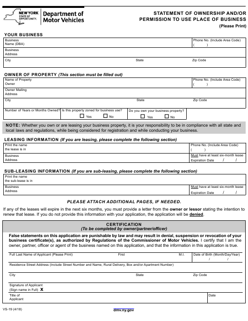 Form VS-19 Printable Pdf