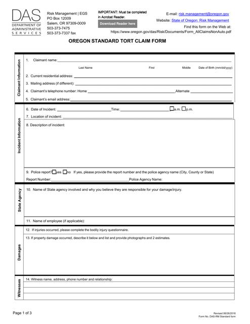 Form DAS-RM Printable Pdf
