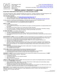 "Form DAS-RM ""Oregon Agency Property Claim Form"" - Oregon"