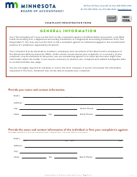 """Complaint Registration Form"" - Minnesota"