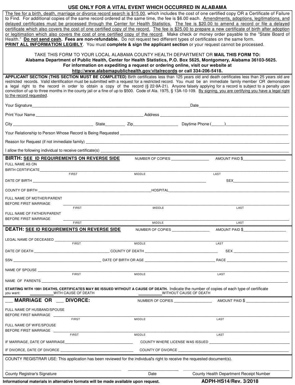 alabama certificate marriage form birth divorce application death pdf printable fill template templateroller adph 1742