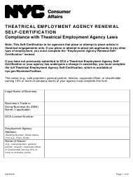 """""""Theatrical Employment Agency Renewal Self-certification"""" - New York City"""