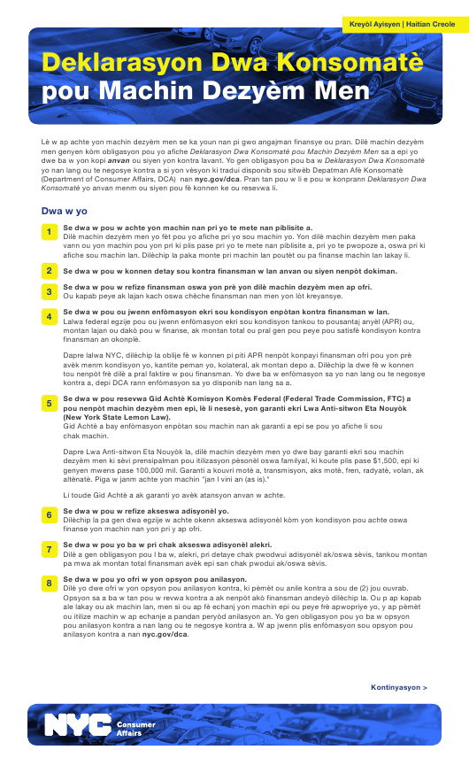 """Used Car Consumer Bill of Rights"" - New York City (Haitian Creole) Download Pdf"