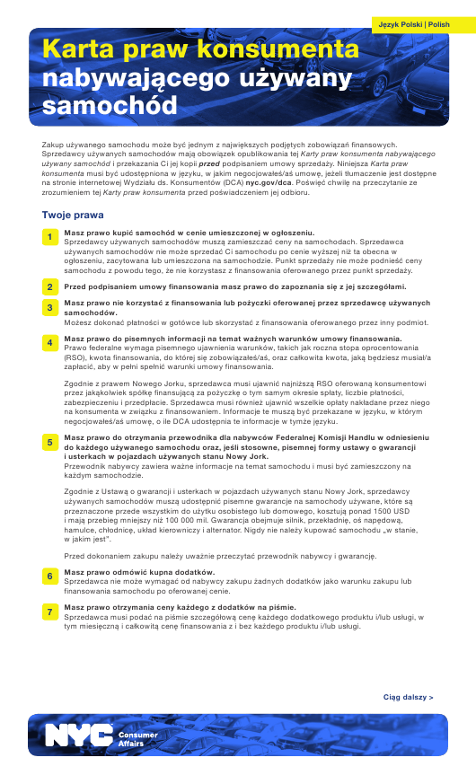 """Used Car Consumer Bill of Rights"" - New York City (Polish) Download Pdf"