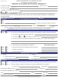 """Form UB-296-FF """"Report of Illness or Physical Disability"""" - Arizona"""