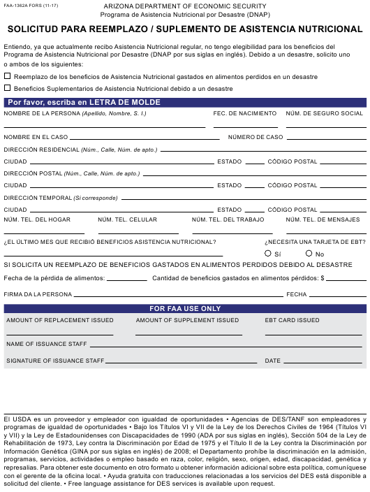 Form FAA-1362A FORS Fillable Pdf