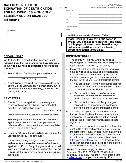 Form CF 377 2C Download Fillable PDF, Calfresh Notice of