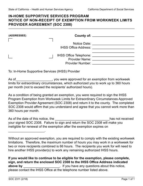 Form SOC2311 Printable Pdf