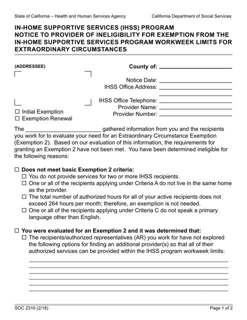 Form SOC2310  Printable Pdf