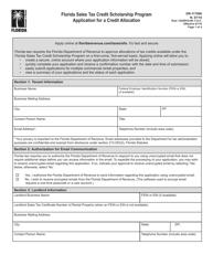 "Form DR-117000 ""Application for a Credit Allocation - Florida Sales Tax Credit Scholarship Program"" - Florida"