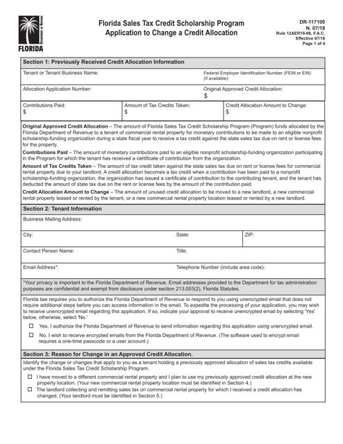Form DR-117100 Printable Pdf