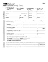 "Form IG261 ""Fire Safety Surcharge Return"" - Minnesota, 2018"